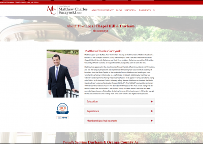 Matthew Charles Law, PLLC - Chapel Hill, NC - Web Design & Development Case Study 3